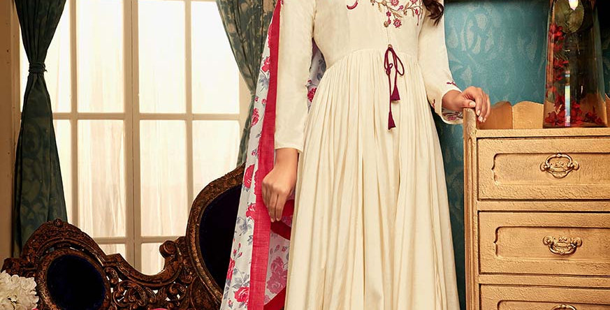 Festive Season With Beauty  Cream Color Readymade Gown with Duppatta