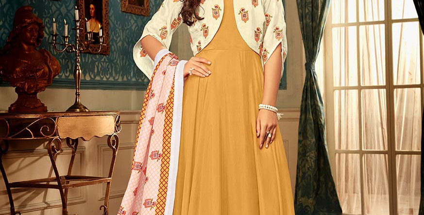 Festive Season With Beauty  Mustard Yellow Color Readymade Gown with Duppatta