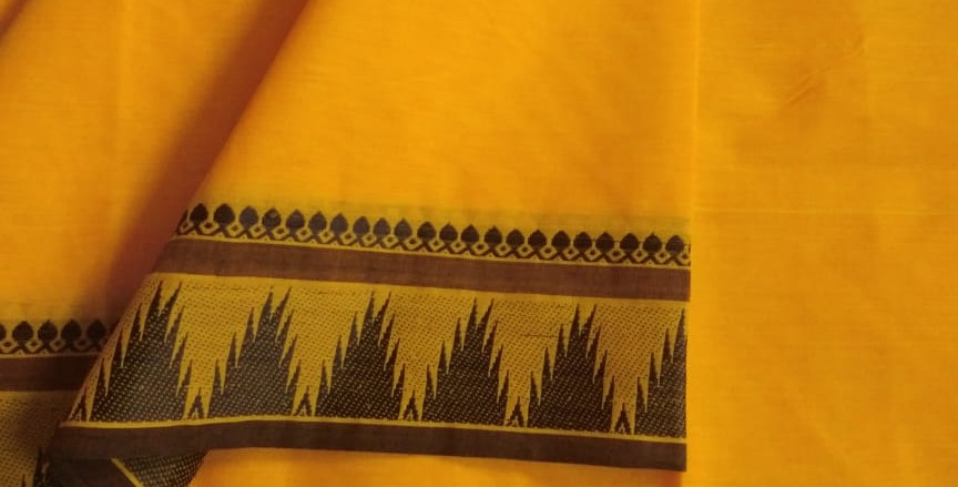 Traditional Cotton Sarees for Pongal Festive Yellow Color