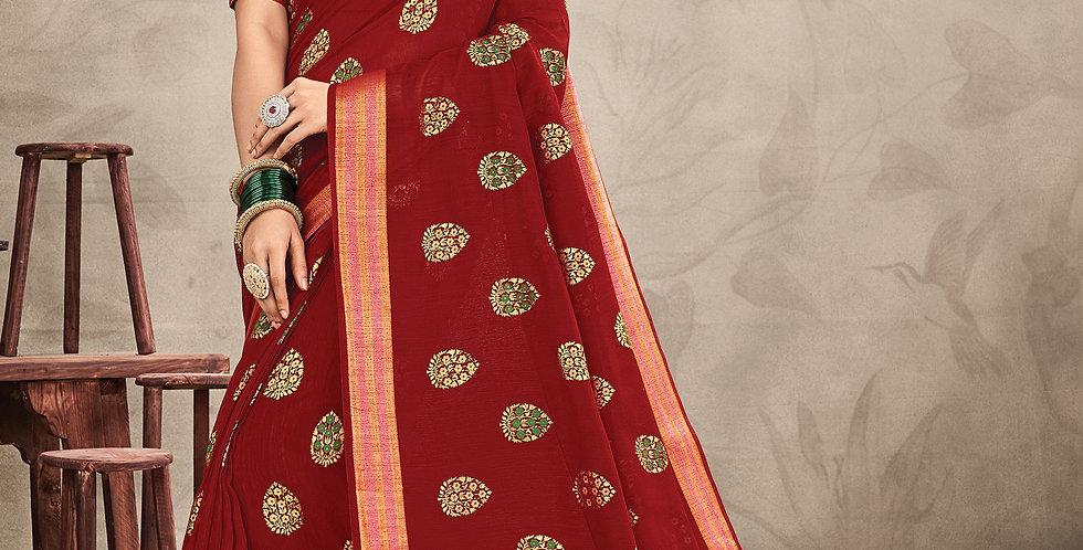Chanderi Red Color Designer Saree