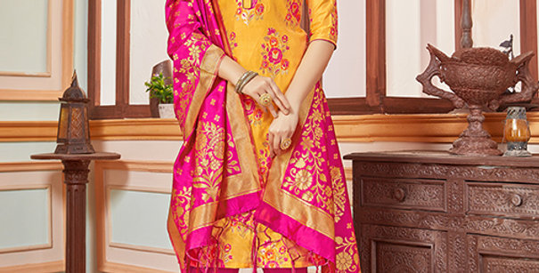 Elegant Looking Silk Based Mustard Yellow Color Straight Salwar Suit