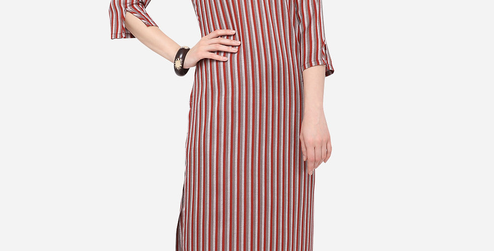 Readymade Straight Kurti In Maroon Color Fabricated On Cotton