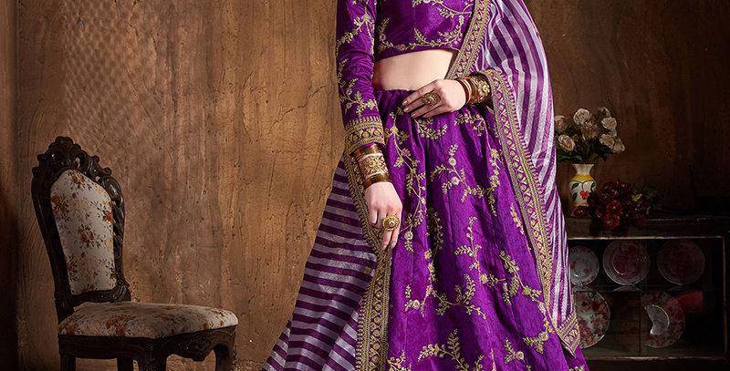 Pretty Heavy Embriodery Purple Colored  Designer Lehenga Choli Set