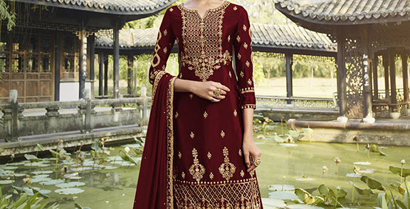 Pretty Designer Dark Maroon Color Straight Salwar Suit