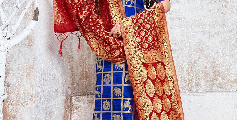 Hera is A  Pretty Designer Royal Blue Color  Straight Salwar Suit