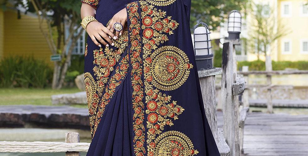 Heavy Designer Saree In Navy Blue Color with Art Silk Fabricated