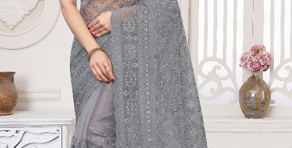 Grey Heavy Resham Embroidery Work with Heavy Blouse