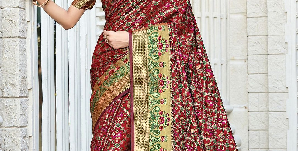 Maroon Color Patola Silk Sarees for Occasion