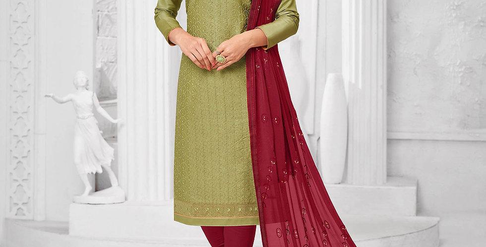 Here Is A Pretty Designer  Olive Green  Color Straight Salwar Suit