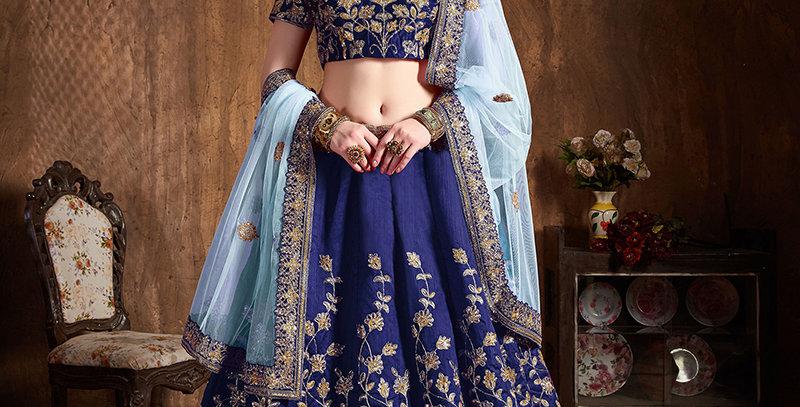 Pretty Heavy Embriodery Navy Blue Colored  Designer Lehenga Choli Set
