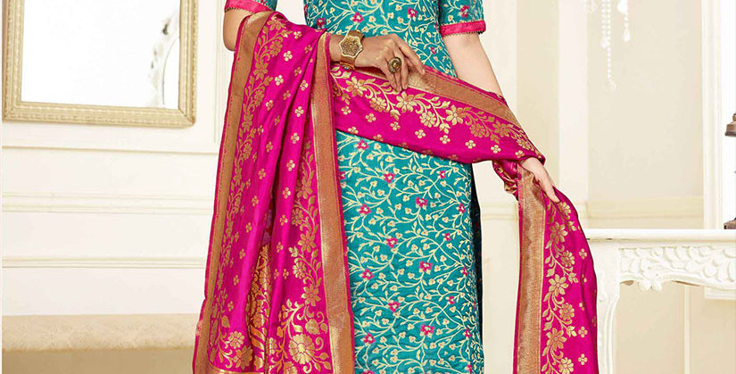 Hera is A  Pretty Designer Blue and Rani Pink  Color  Straight Salwar Suit