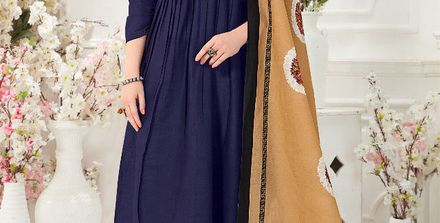 Festive Season With Beauty  Navy Blue  Color Readymade Gown with Duppatta