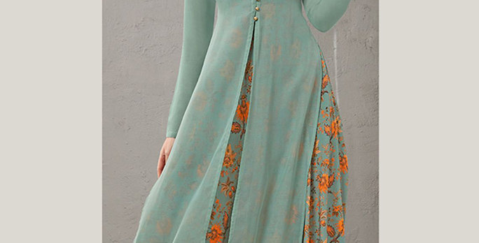 Festive Season Wearing This Designer Dusty Blue Color Readymade Gown Two Layer