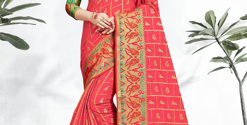 Uniqe Style Pretty Designer Pink  Colored Heavy�Weaved Saree with Blouse