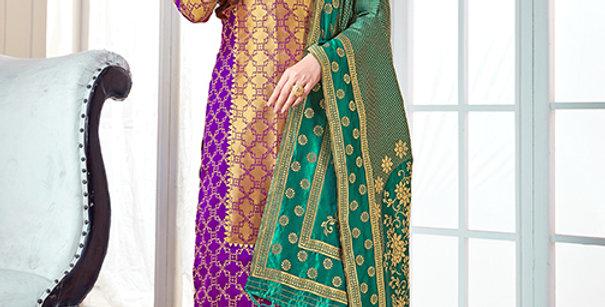 Pretty Causal Wear Purple Color Straight Salwar Suit