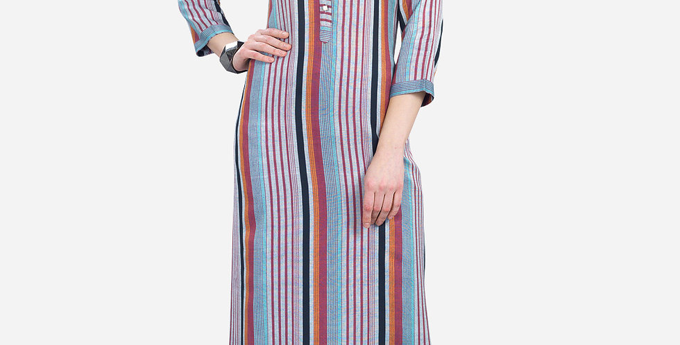 Readymade Straight Kurti In Blue Color Fabricated On Cotton