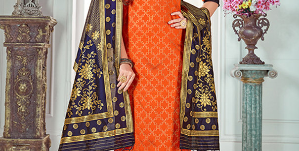 Pretty Causal Wear Orange Color Straight Salwar Suit