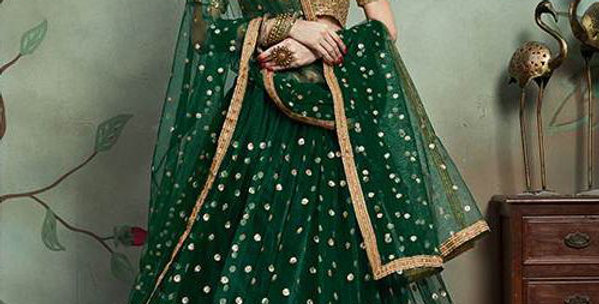 Pretty Heavy Embriodery Dark Green Colored  Designer Lehenga Choli Set
