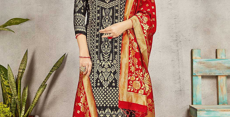 Festive Season Wearing this Designer Black and Red Color Straight Suit