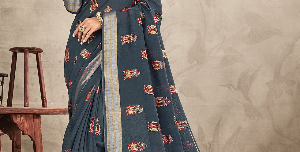 Chanderi Grey Color Designer Saree