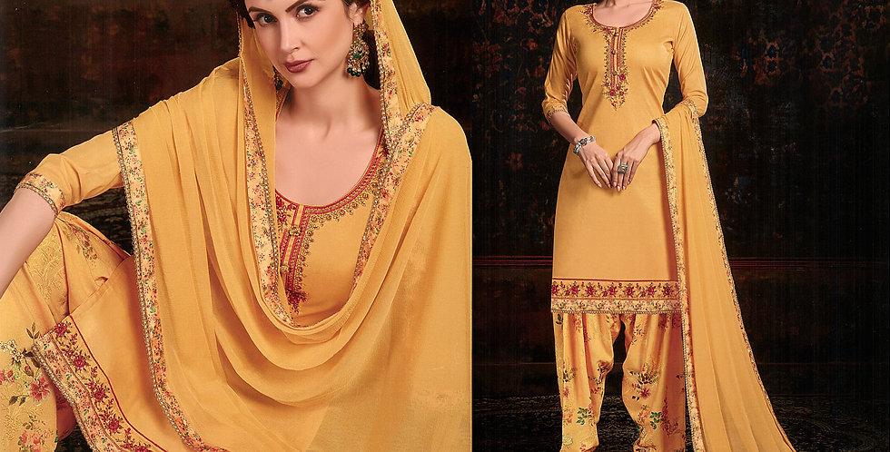 PartyWear Designer Mustard Yellow Color Cotton Patiala Suit