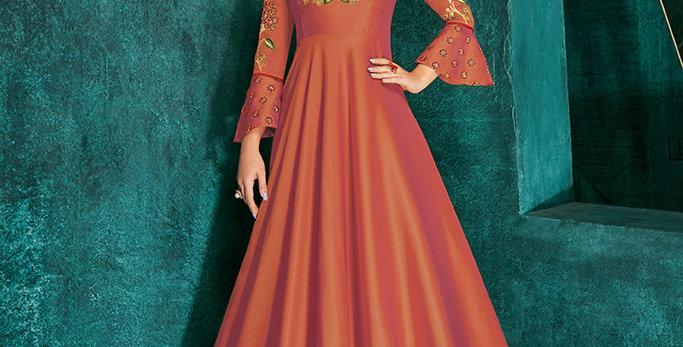 Festive Season Wearing This Designer Rust Orange Color Readymade Gown