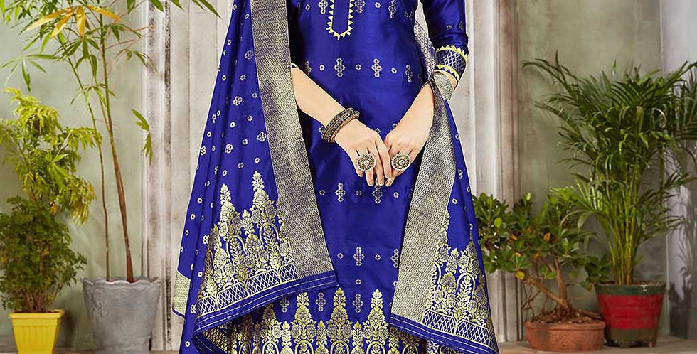 Festive Season Wearing this Designer Royal Blue  Color Straight Suit