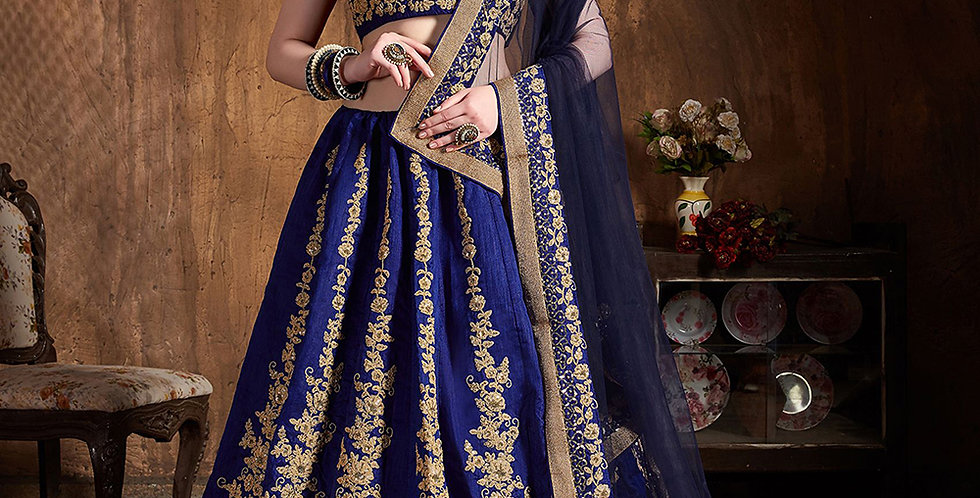 Pretty Heavy Embriodery Blue Colored  Designer Lehenga Choli Set