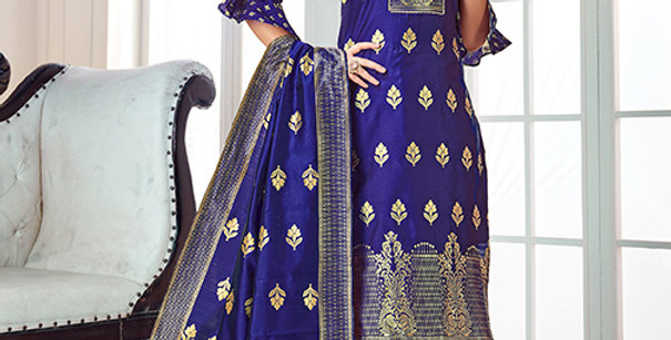 Pretty Causal Wear Royal Blue Color Straight Salwar Suit