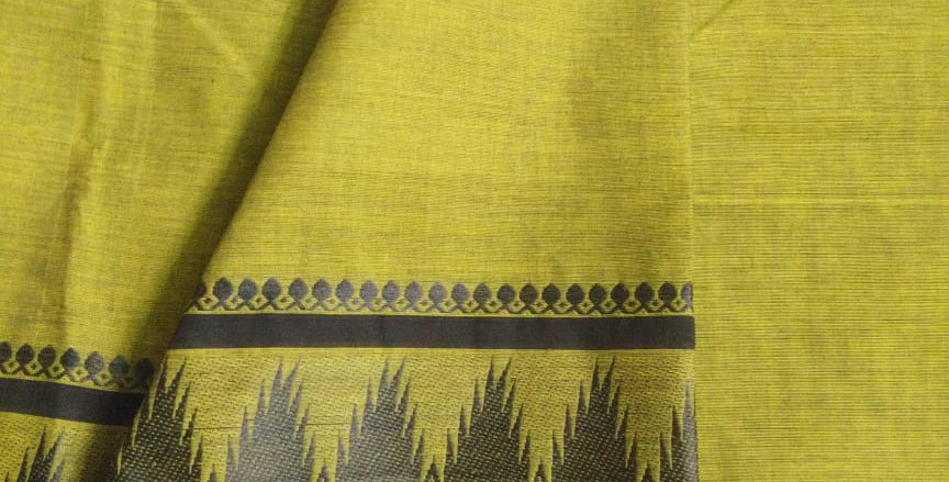 Traditional Cotton Sarees for Pongal Festive Lime Green Color