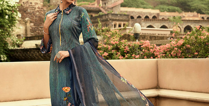 Pretty Causal Wear Teal Blue Color Straight  Salwar Suit  Dress Material