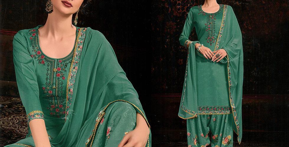 PartyWear Designer Sea Green Color Cotton Patiala Suit