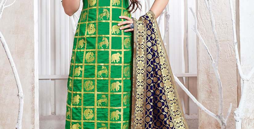 Hera is A  Pretty Designer Beige and Green Color  Straight Salwar Suit