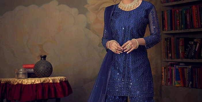 Grab This Very Beautiful Heavy Designer Royal Blue Color Sharara Suit
