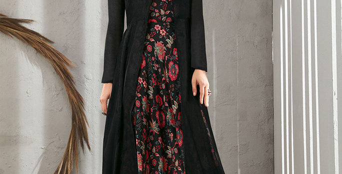 Festive Season Wearing This Designer Black Color Readymade Gown Two Layer