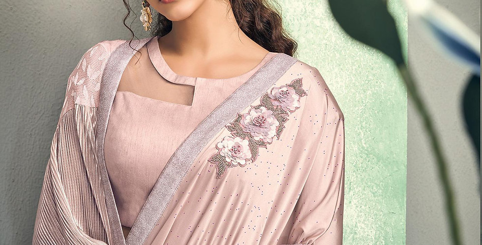 Uniqe Style Baby Pink Color Art Silk Saree with Fabric Lycra