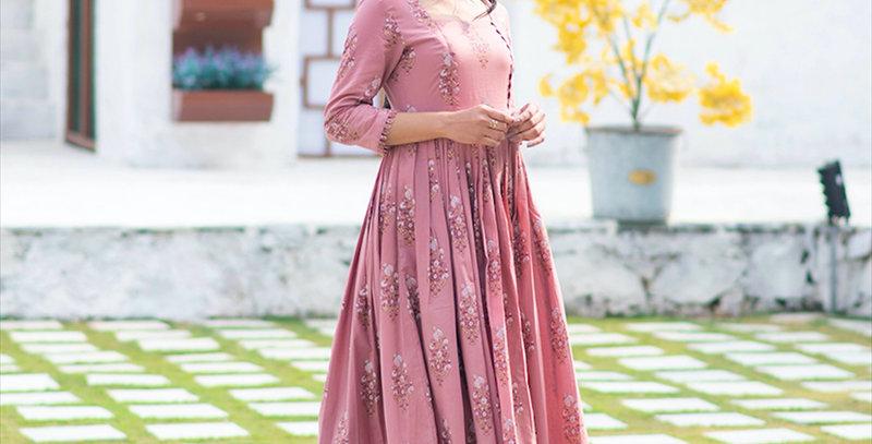 Partywear Designer Digital Printed Gajri Pure Maslin Gown
