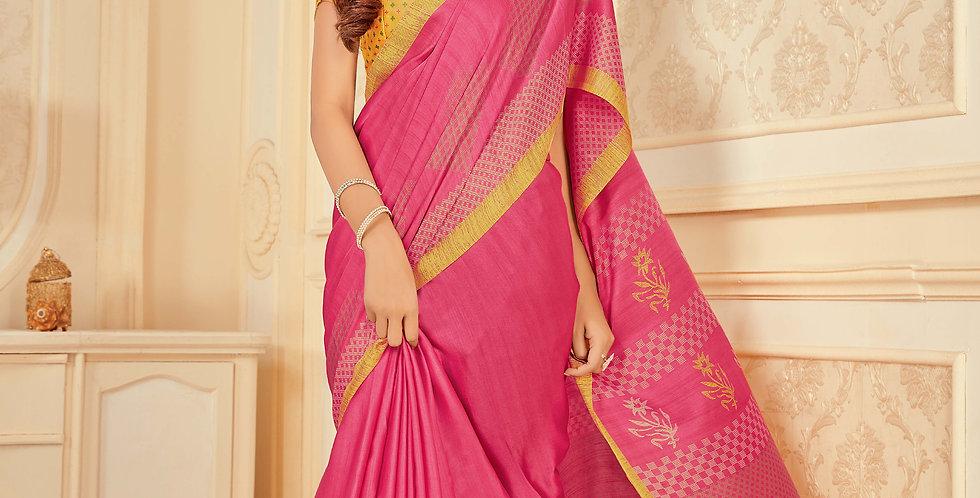 Pink Color Satin Silk Saree and Printed Work