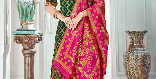 Pretty Causal Wear Dark Green Color Straight Salwar Suit
