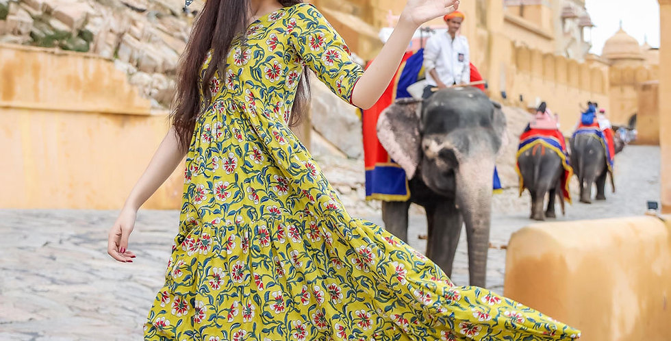 Designer Partywear Printed Yellow Pure Maslin Gown