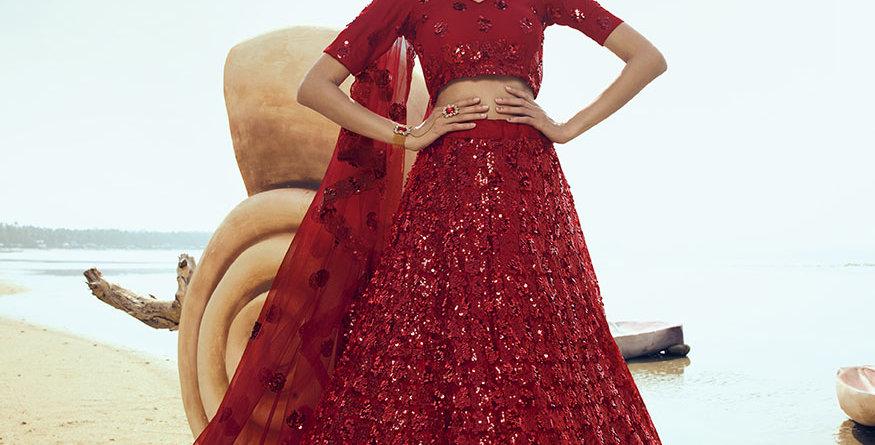 Pretty Heavy Embriodery Red Colored  Designer Lehenga Choli Set