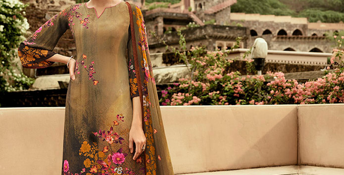 Pretty Causal Wear Light Brown Color Straight  Salwar Suit  Dress Material
