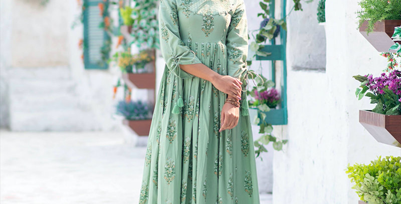 Partywear Designer Digital Printed Moss Green Pure Maslin Gown