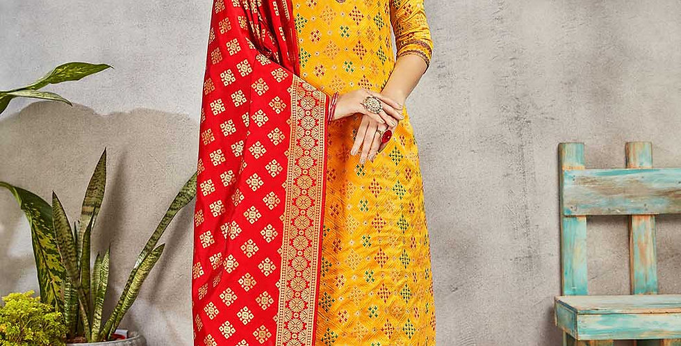 Festive Season Wearing this Designer Yellow and Red Color Straight Suit