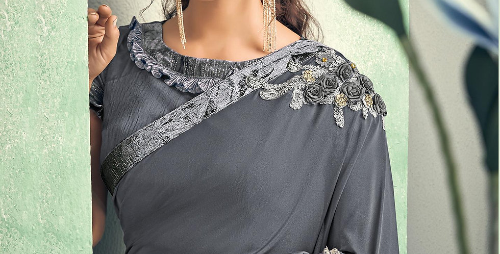 Uniqe Style Grey Color Art Silk Saree with Fabric Lycra