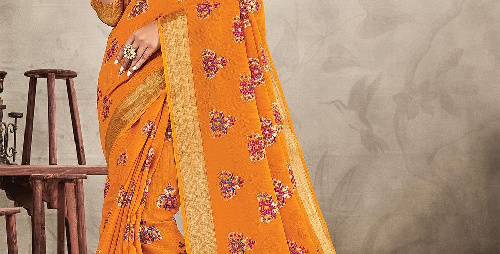 Chanderi Orange Color Designer Saree