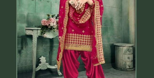 New stylish Pink heavy Patiyala Suit Collection with Gota Patti work