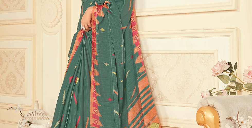Teal Green Color Satin Silk Saree and Printed Work