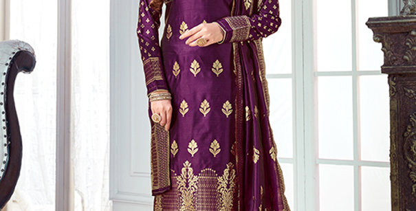 Pretty Causal Wear Purple Color Straight Salwar Suit