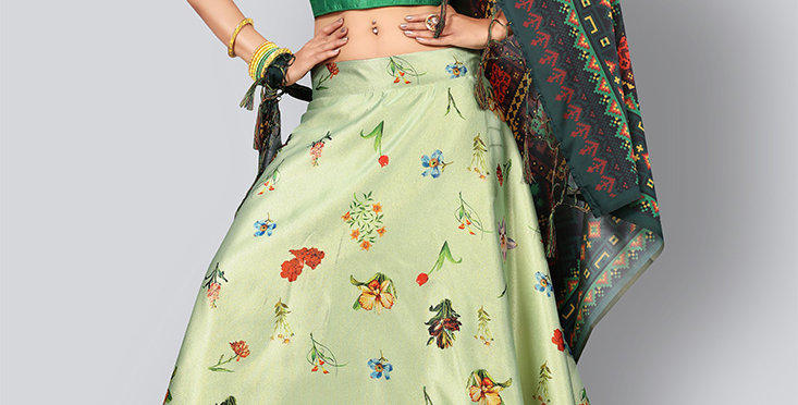 Pretty  Digital Printed Pastel Green Colored Designer Lehenga Choli Set